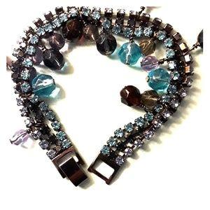 Lia Sophia Triple Strand Rhinestone Bracelet NWT
